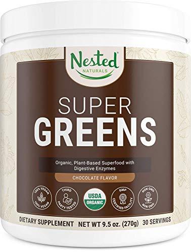 Super Greens Chocolate | #1 Green Vegetable Superfood Powder | 100% USDA Organic Non-GMO Vegan Supplement | 20+ Whole Foods (Wheat Grass, Spirulina, Chlorella), Probiotics, Enzymes Smoothie Mix