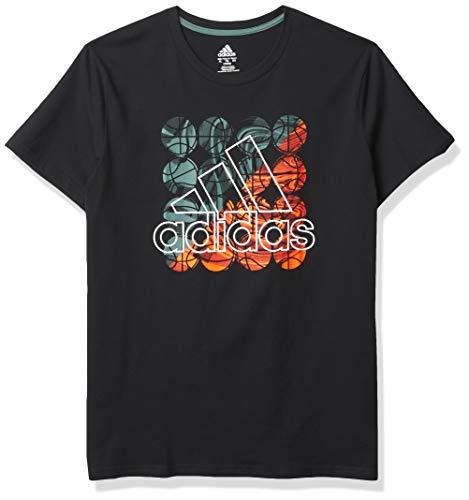 adidas Short Sleeve Cotton Jersey Logo T-Shirt Camiseta, All Day Negro/Verde, L para Niños