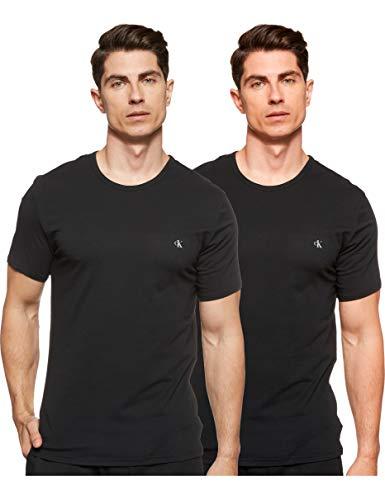 Calvin Klein S/s Crew Neck 2pk Top de Pijama, Negro (Black 001), L para Hombre