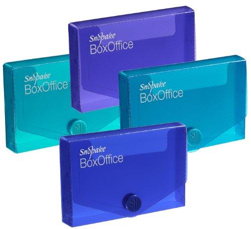 Snopake BoxOffice 13781 - Caja para tarjetas de visita (5 unidades, polipropileno, lomo de 15 mm, cierre de botón), multicolor