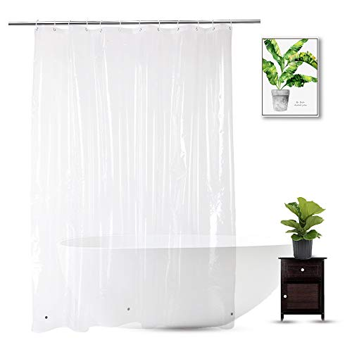 WellColor Shower Curtain Liner 72 x 78 Inch, PEVA Heavy Duty Extra Long Shower Curtain with 3 Weighted Magnets, Clear