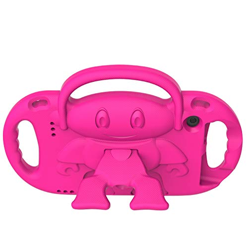 Surom Kids Case for All New Amazon Fire 7 2019/2017, Light Weight Shock Proof Friendly Handle Kids Stand with Shoulder Strap for Fire 7 Tablet (9th & 7th Generation, 2019 & 2017 Release), Rose Pink