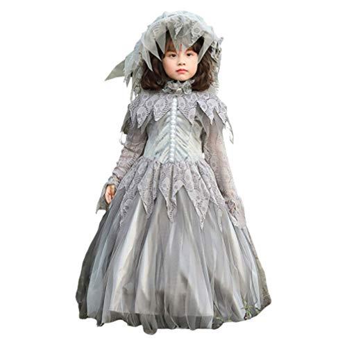 KESYOO Vestidos de Novia Fantasma Cadáver Traje de Novia Patrón de Calavera Cosplay Disfraz Foto Prop Etapa Vestido de Rendimiento para Niñas Niños (Pequeño)