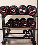 RISE UP Dumbbell Stand & Standard Weight Multilevel Weight Storage 3 Tier, 500-Pound Capacity, Small