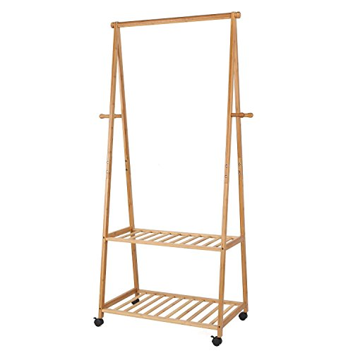 Homfa Rolling Coat Rack Bamboo Coat Stand Clothes Hanging Rail Garment Rack 2 Tiers 4 Hooks Shoes Hat Rack Home Office (Natural)