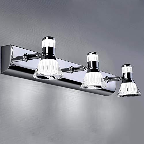 Glighone Lampe Miroir Salle de Bain 20W Applique Murale de Bain LED IP45 étanche Moderne Lampe Miroir Intérieure Luminaire Salle de Bain Réglable 360° Rotative Lampe Frontale de Miroir, Blanc Froid