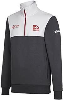 Haas American Team Formula 1 Motorsports Gray Team 1/2 Zip Sweatshirt Jacket