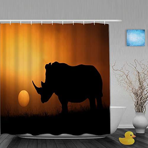 SUHOM Duschvorhang,Nashorn Afrika Sonne Sonnenaufgang & Sonnenuntergang,personalisierte Deko Badezimmer Vorhang,mit Haken,180 * 210