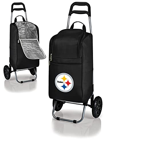 NFL Pittsburgh Steelers Insulated Cart Cooler with Wheeled Trolley, Black