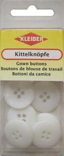 Kleiber - Botones de Bata, tamaño Grande, 6 Piezas, Color Blanco
