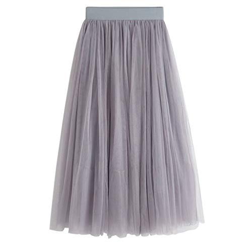 SALUCIA Damen Tüllrock Unifarben Lange Mesh Falten Rock High Waist Elastisch Maxi Tüll Tütü Röcke Long Skirt Unterrock Petticoat