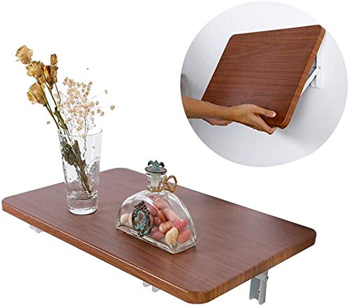 Aan de muur bevestigde klap tafel Klaptafel Massief houten muur gemonteerde opslag tafel, ruimtebesparende studie, slaapkamer, badkamer of balkon hangen tafel, walnoot kleur ruimtebesparend