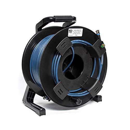 Emelec VíasCom R-SDI-3006A/120-120m videokabel 3G-SDI (0.8/3.75/6.0) gemonteerd op kabelhouder met BNC 3G-SDI - Unifilar Ladder - Blauw - Flexible PVC