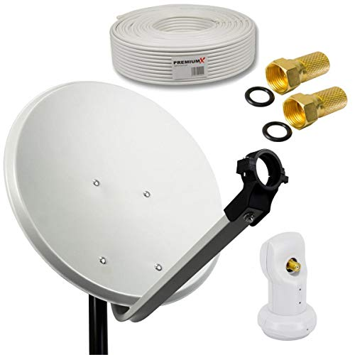 PremiumX Camping Sat Anlage 45cm Schüssel Hellgrau Single LNB Weiß 0,1db 10m Koaxialkabel 2X F-Stecker