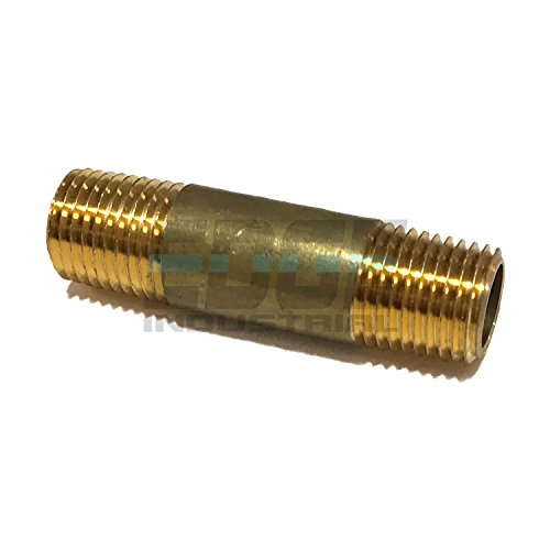 EDGE INDUSTRIAL Brass Long Nipple 1/4' X 1/4', 2' Length, Male NPT MNPT Fuel/AIR/Water/Oil/Gas WOG (Qty 01)