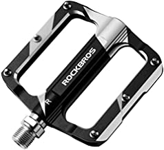 ROCKBROS Mountain Bike Pedals Flat Bicycle MTB Pedals 9/16 Lightweight Road Bike Pedals Carbon Fiber Sealed Bearing Flat Pedals Black