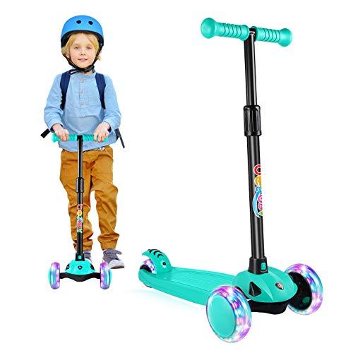 BELEEV Patinete Niño Patinete Plegable con 4 Alturas Ajustable, 3 LED luz Ruedas Patinetes para Niños, Patinete niña Scooter para de 3 a 8 Años(Verde Azulado)