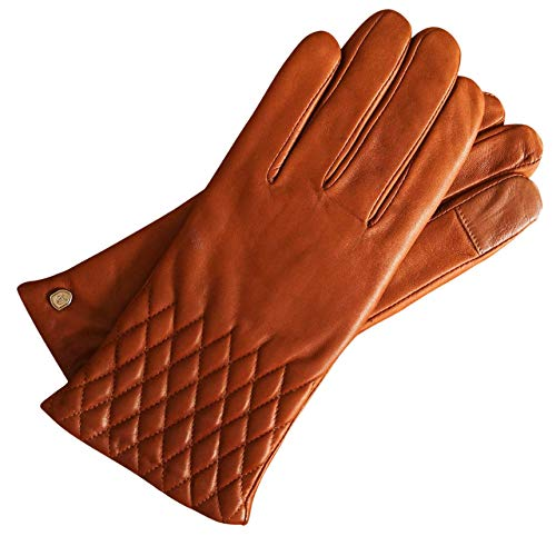 AKAROA ESTD 2019 Lederhandschuhe Damen ISA, italienisches Haarschafleder, Touchfunktion, Strickfutter aus 50% Kaschmir und 50% Wolle, cognac S