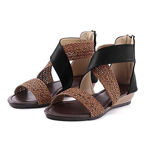 Orgrul Sandalias Mujer Verano 2021, Chanclas Mujer Verano, Planas Comodas Boho Vintage Moda Zapatos de Playa Punta Abierta Negro Marrón Azul Número 35-42 EU 2504 (35, negro)