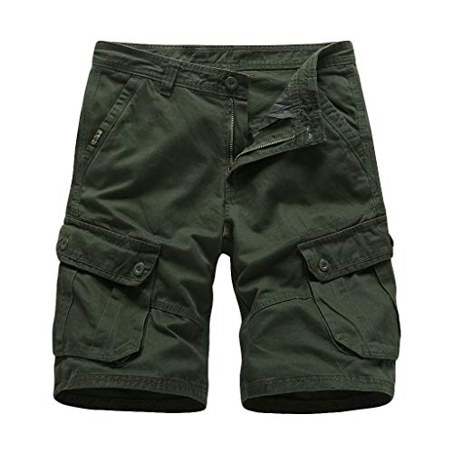 Best Bargain Ninasill Hot!Men's Large Size Multi-Pocket Tooling Shorts Solid Color Zippered Outdoor ...