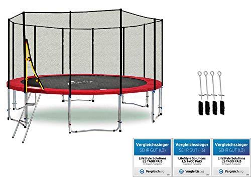 LifeStyle ProAktiv LS-T400-PA13 (Rad) Deluxe Trampolino da Giardino 400cm - incl. Rete di Sicurezza 140g/m² - New