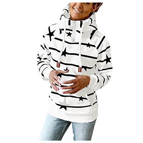 Briskorry Sudadera con capucha para mujer con estampado a rayas, parte superior de bloque de color, grande, cuello alto, chaqueta de manga larga, sudadera con cordón, Blanco-8., XL