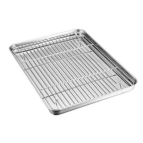 Stainless Steel Roasting Pan with Rack, Rectangular Deep Roaster Pan Tray Baking Sheet and Rack Set Nonstick Steel Roaster Lasagna Pan Baking Tray for Roasting (15.7511.810.98inch)