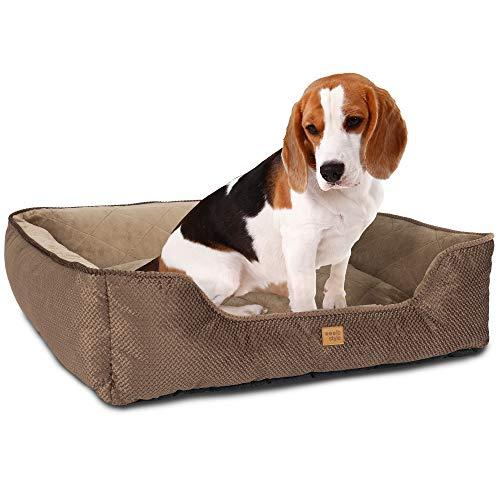 ib style® Happy Milo Hundebett | Körbchen für Hunde & Katzen | mit Reißverschluss | S / M / L / XL / XXL | 3 Farben | Braun
