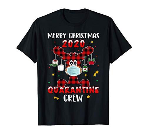 Funny Quarantine Crew Buffalo Plaid Reindeer Christmas Gift T-Shirt