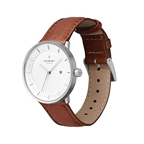 Nordgreen Unisex Philosopher Scandinavian Analog Watch in Silver 36mm with Brown Leather...