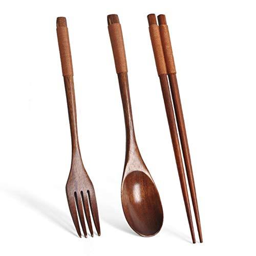 YEEWA Palillos de madera, cuchara tenedor, vajilla de madera, juego de 3