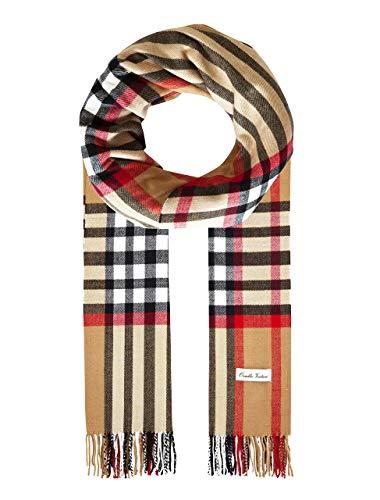 Ornella Venturi Foulard pour femme / homme en écharpe à carreaux en damier tendance à carreaux damier chameau, SC2020U 200 x 31 x 0,5 cm