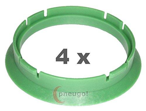 4 x Zentrierringe, Kunststoff 63.3mm auf 56.6mm grün