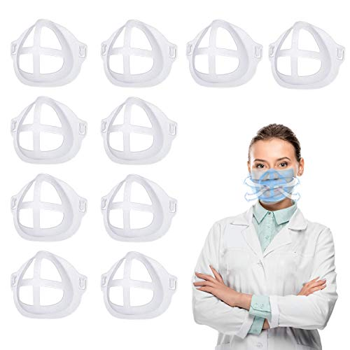 3d Face Bracket Inner Support Face Frame Guard, 10 Pcs Clear Face Holder for Comfortable More Breathing Space,Lipstick Protection Stand,Reusable Washable