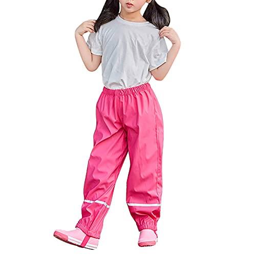 Aktualisiert Regenhose Kinder, Thicken Wind- und wasserdichte Matschhose Kinder, Unisex Fahrrad Regenhose für Mädchen Jungen Outdoor (122-128,Rose red)