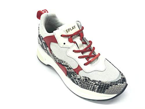 Replay Art RS1B0012S Camey - Zapatillas cómodas de Piel Blanco Size: 39 EU