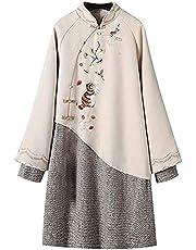 パーカーワンピース レディース ロングパーカー フード付き 中国風ドレス 重ね着風 刺繍 チャイナドレス 春秋冬