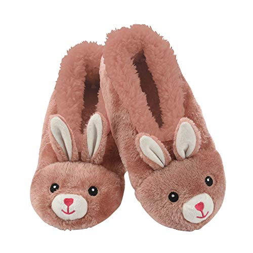 Snoozies Womens Slippers Animal Furry Foot Pals - Rabbit - Large