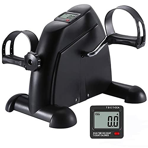 Under Desk Bike Pedal Exerciser Mini Peddler Exercise Bike for Arm & Leg Workout Foot Pedal Exerciser for Seniors with LCD Screen Display