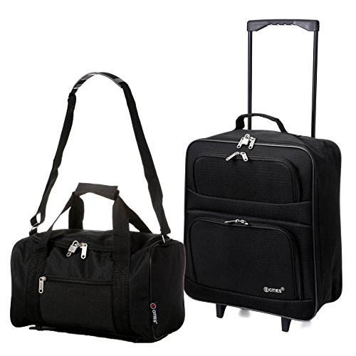 5 Cities Folding Cabin Ryanair Second Bag Hand Luggage, 55 cm, 39 Litre, Black