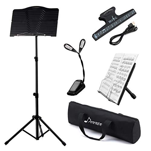 Donner Sheet Music Stand with Light, DMS-1 Portable Metal Ipad Music Stand, Tabletop Music Book...