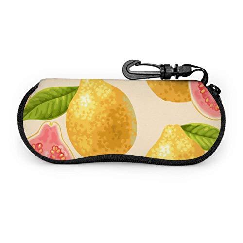 Fundas de gafas Tropical Fruit Guayaba Hombre Ultra Ligero Neopreno con Cremallera Almacenaje Lente Suave Sunglasses Case 8 * 17cm