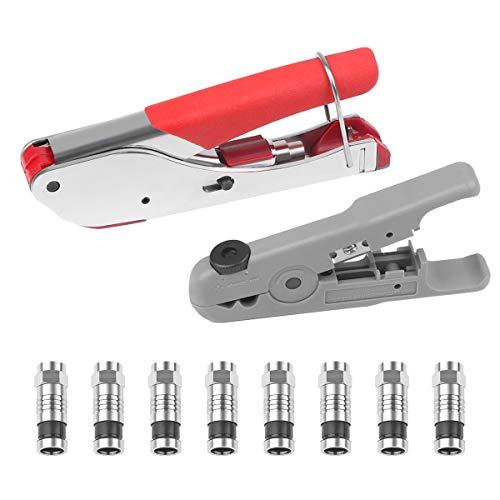 Koaxialkabel Crimper Koaxialkabel Stripper Compression Tool Kit Einstellbar für RG 59 / RG 6 mit 8PCS F-Steckern