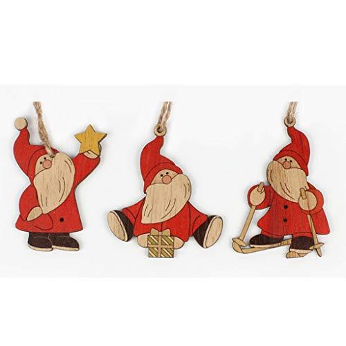TOSLEJF 3 pezzi Babbo Natale ornamenti pendenti natalizi in legno per albero di Natale appeso decorazione per feste Giocattoli per bambini