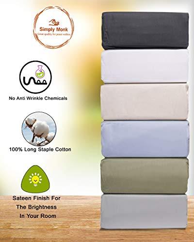 Simply Monk 800 Thread Count 100% Egyptian Cotton, 4 Piece Sheet Set,15' Deep Pocket, Long Staple 100% Cotton (White, Queen)