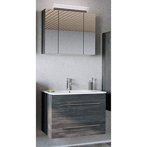 Lomadox Badmöbel Waschplatz Set in Graphit Struktur, 81cm Keramik-Waschtisch mit Unterschrank mit Softclose-Auszug, LED-Spiegelschrank