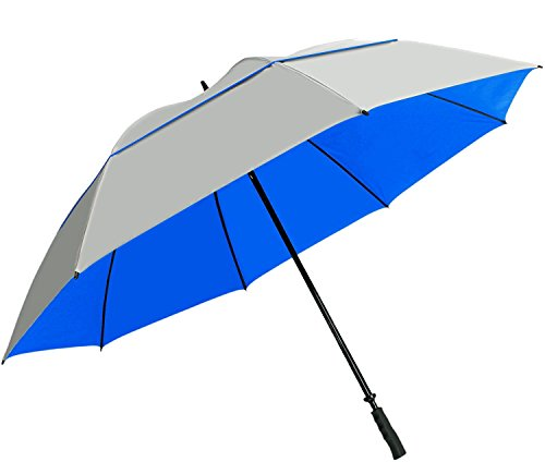 "Sun Tek 68"" UV Protection Wind Cheater Vented Canopy Silver/Blue Umbrella"