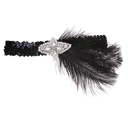 Sharplace Clásico Diadema de Boda Nupical Cinta de Cabeza de Pluma Flapper Tocado Época 1920s Great Gatsby Tocado Accesorio de Pelo Disfraz