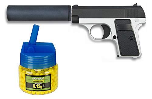 Tiendas LGP, Albainox 35721 Arma Airsoft, Pistola Aire Suave, con silenciador, Potencia 0,8 Julios + Biberón 500 Bolas 12 Gramos de 6 mm. de Regalo