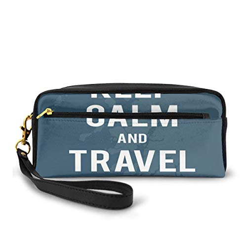 Pencil Case Pen Bag Pouch Stationary,Travel The World Quote on A Faded Map of United Kingdom and A Plane Silhouette,Small Makeup Bag Coin Purse